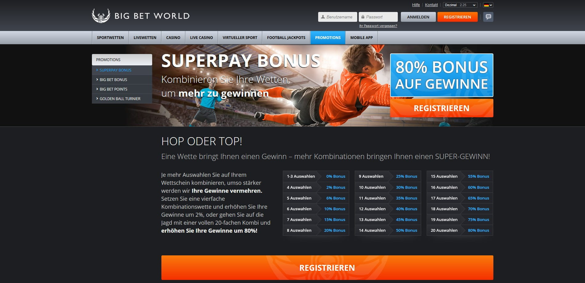 World Of Bets Wettprogramm