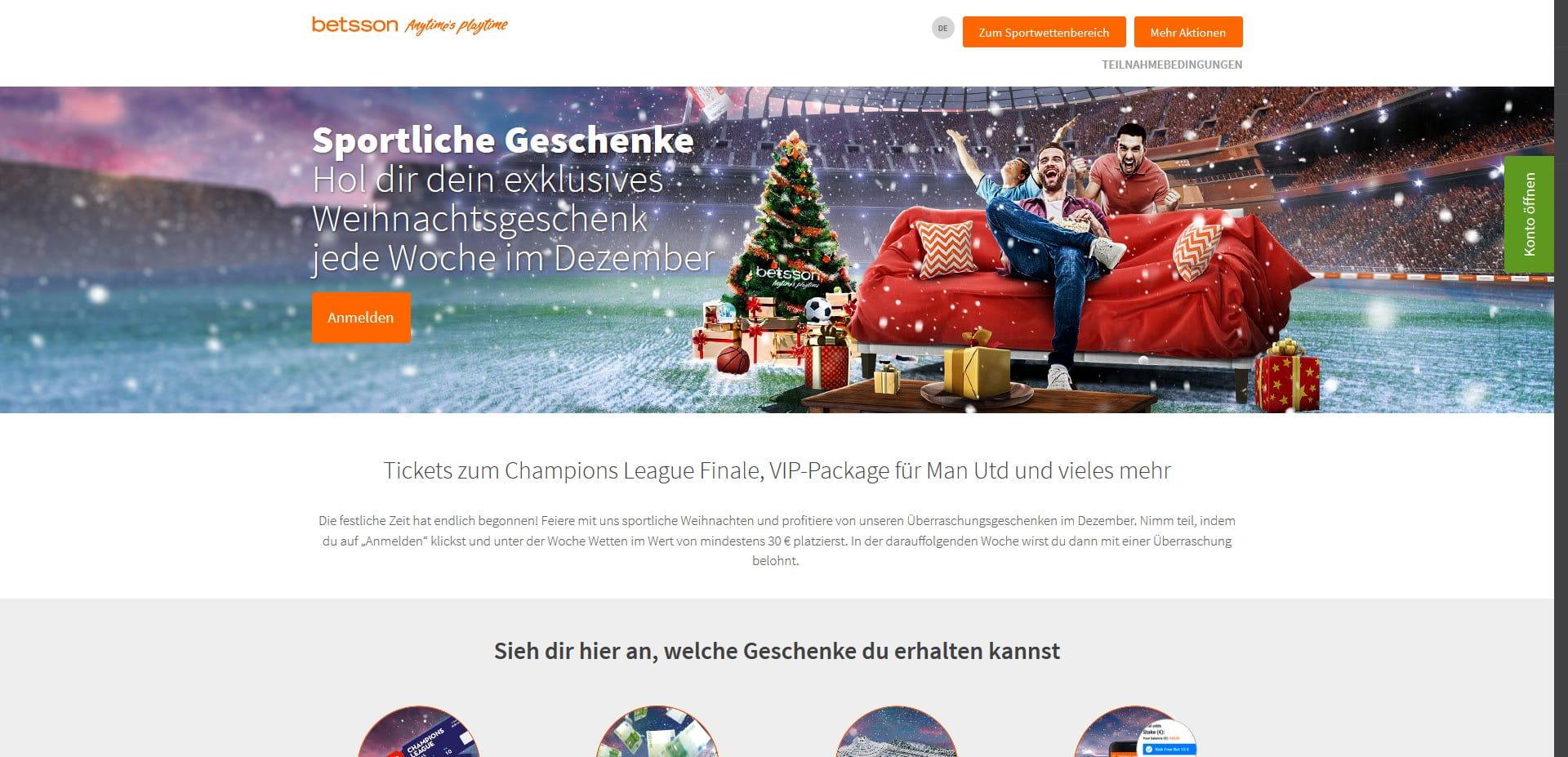 Betsson verlost tolle Weihnachtsgeschenke - Sportwetten Bonus